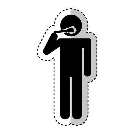 Human silhouette brushing teeth vector illustration design