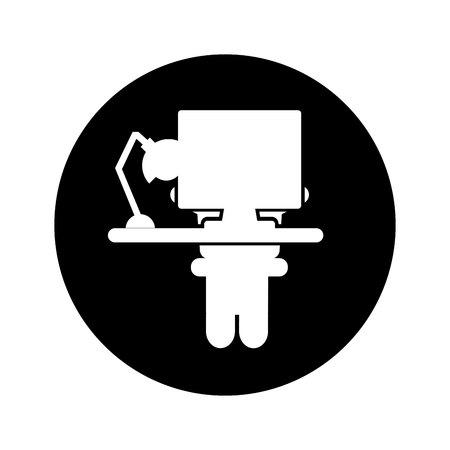 computer desktop workplace icon vector illustration design