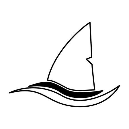 great danger: shark silhouette alert icon vector illustration design