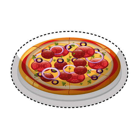 delicious pizza isolated icon vector illustration design Illustration