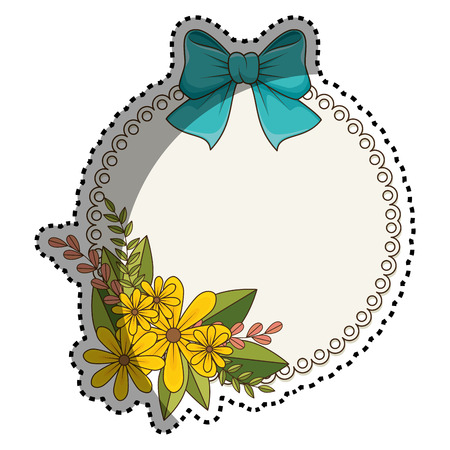 sticker circular border with floral bouquet and blue ribbon vector illustration