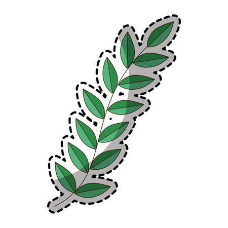 sticker of green silhouette oval leaves with ramifications vector illustration