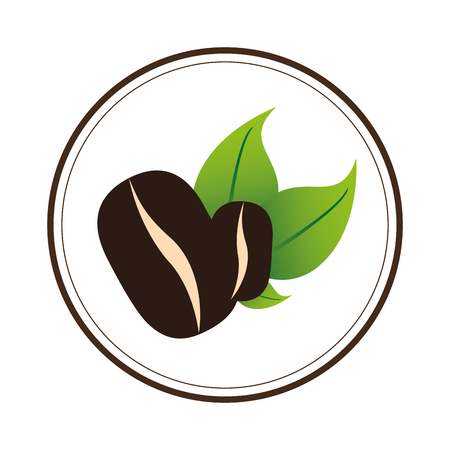 roasted: color circular emblem with coffee beans vector illustration vector illustration Illustration