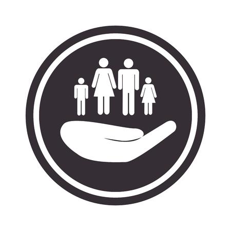 emblème circulaire monochrome avec main tenant illustration vectorielle de famille