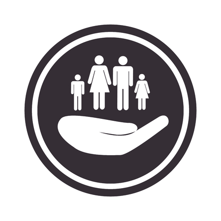 monochrome circular emblem with hand holding family vector illustration