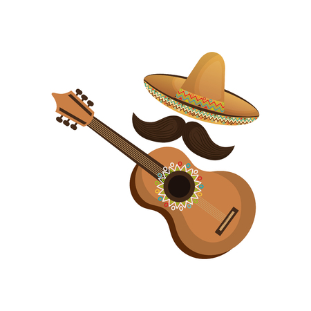 colorful acoustic guitar musical with hat and moustache mexican culture vector illustration Illustration