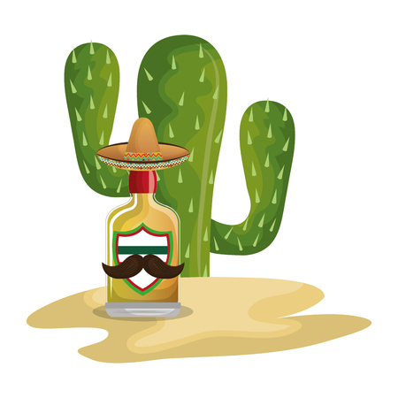 background Cactus with bottle of tequila vector illustration