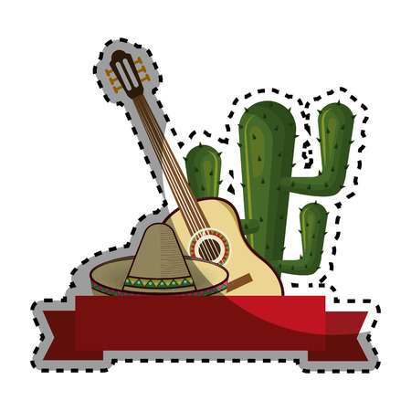 sticker set collection traditional mexican elements with cactus vector illustration Illustration