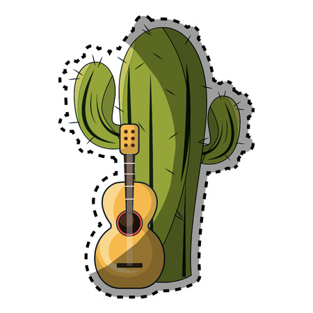 sticker cactus with thorns and acoustic guitar vector illustration