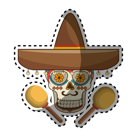 sticker decorative ornamental sugar skull with mexican hat and maracas vector illustration