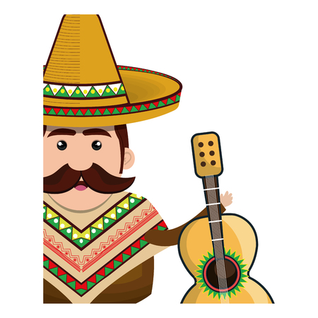 half body man mexican with hat and acoustic guitar vector illustration