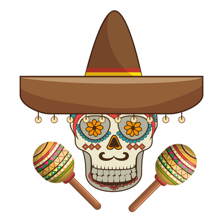 decorative ornamental sugar skull with mexican hat and maracas vector illustration