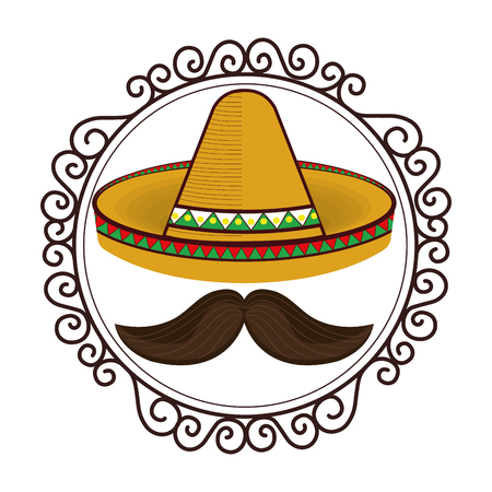 vintage border with hat and moustache mexican culture vector illustration