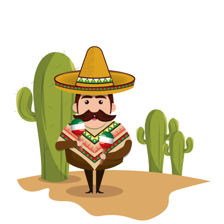 background Cactus with man mexican and traditional outfit vector illustration