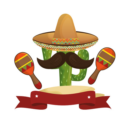 animated sketch cactus with mexican hat and moustache with maraca vector illustration