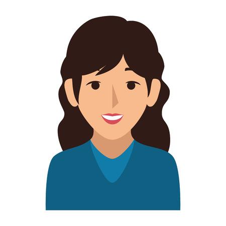 Silhouette colorée moitié corps femme avec illustration vectorielle cheveux ondulés Banque d'images - 72457365