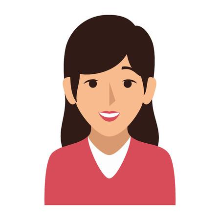 kleurrijke silhouet half lichaam vrouw met lang haar vector illustratie