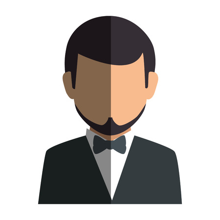 bussinesman: colorful silhouette faceless half body man formal style with bowtie vector illustration