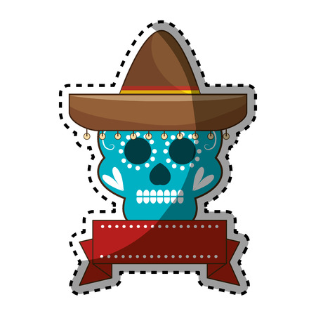 sticker decorative ornamental sugar skull with ribbon an mexican hat vector illustration