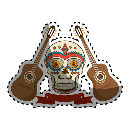 teeths: sticker pair acoustic guitar musical with decorative ornamental sugar skull and ribbon vector illustration Illustration