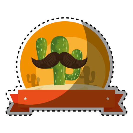 sticker colorful background with animated sketch cactus with ribbon vector illustration