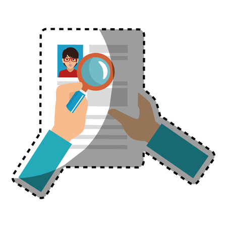 sticker search with loupe in woman file info with curriculum vitae sheet vector illustration