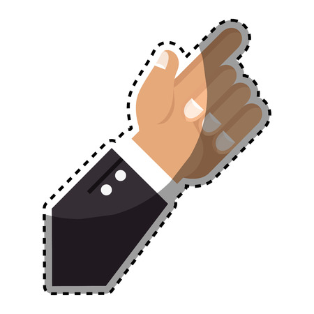 sticker hand with finger pointing up vector illustration
