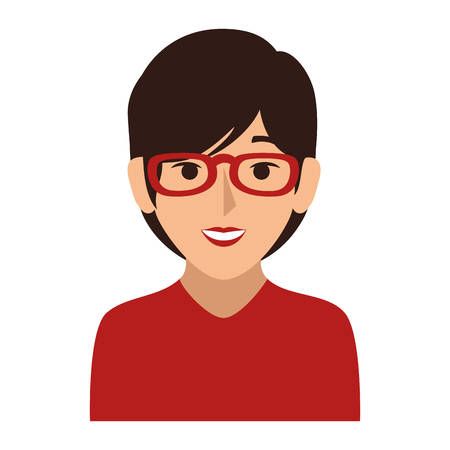 ショートヘアとメガネのベクトル図半身女性のカラフルなシルエット