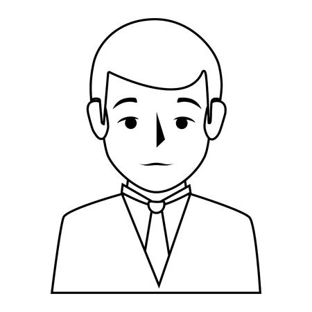 bussinesman: silhouette half body man formal style vector illustration