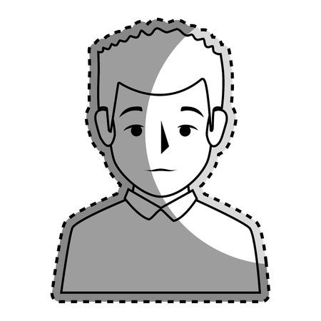 sticker silhouette half body man with t-shirt vector illustration Illustration