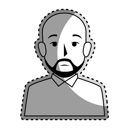 sticker silhouette half body bald man with beard vector illustration Illustration