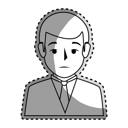 bussinesman: sticker silhouette half body man formal style vector illustration