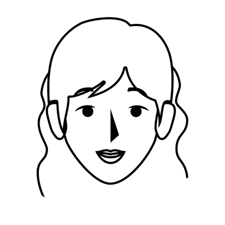 silhouette front view woman with wavy hair vector illustration