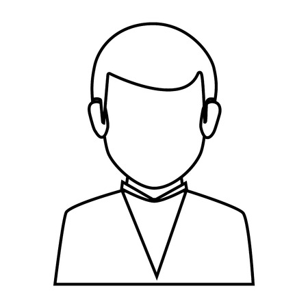 bussinesman: silhouette faceless half body man formal outfit vector illustration Illustration