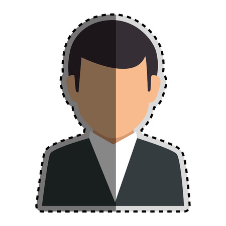 bussinesman: sticker colorful silhouette faceless half body man formal outfit vector illustration