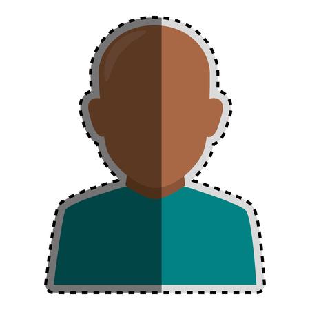 sticker colorful silhouette faceless half body brunette bald man vector illustration