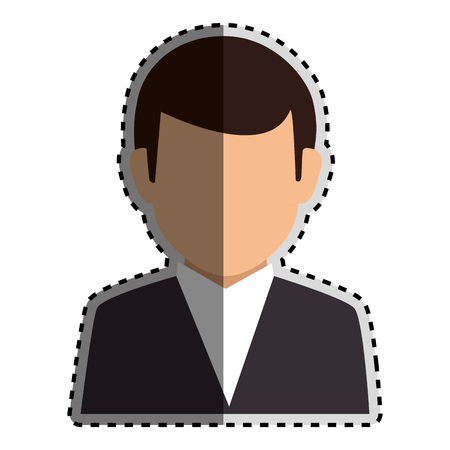 bussinesman: sticker colorful silhouette faceless half body man formal suit vector illustration