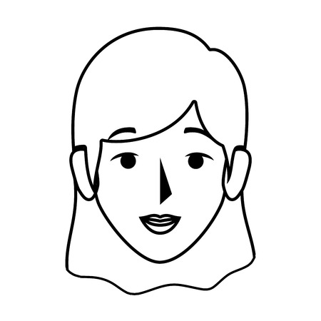silhouette front view woman with straight short hair vector illustration Illustration