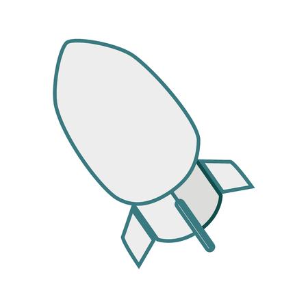 atomic bomb: monochrome contour with rocket icon vector illustration