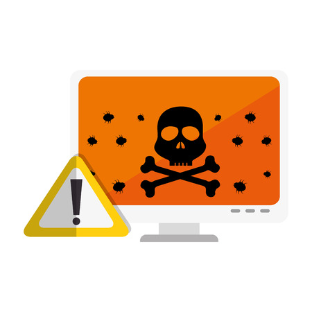color silhouette of lcd monitor with virus on screen vector illustration Illustration