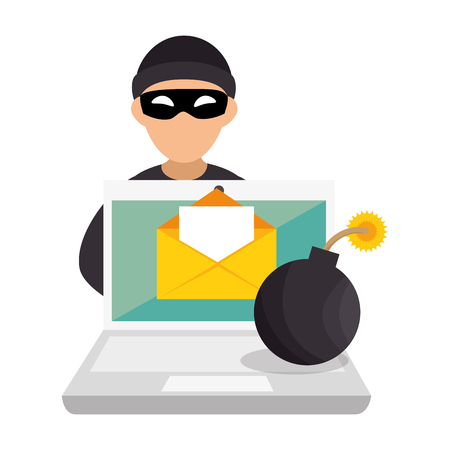 silhouette de couleur avec hacker et ordinateur portable et bombe vector illustration