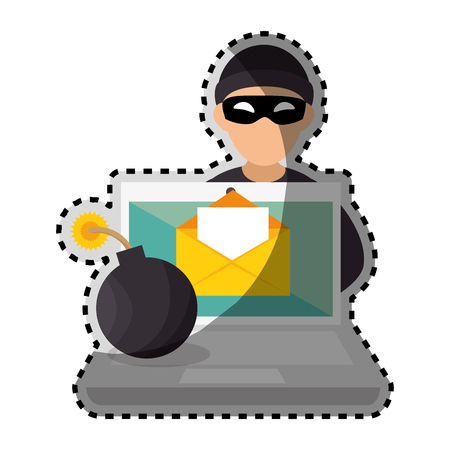 sagoma di colore adesivo con hacker e laptop e bomba illustrazione vettoriale