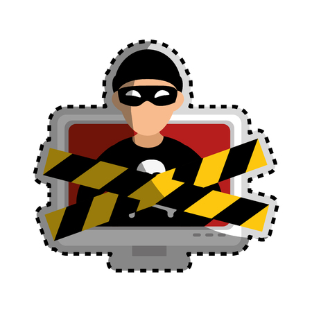 stealing data: sticker color silhouette with lcd monitor with hacker and warning tape vector illustration