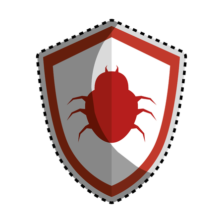 stealing data: sticker color silhouette emblem of shield with bug virus vector illustration Illustration