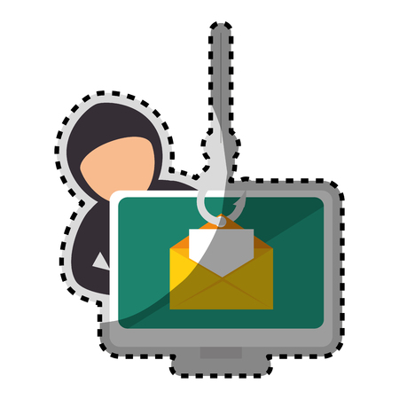 sticker color silhouette with hacker stealing mail information vector illustration
