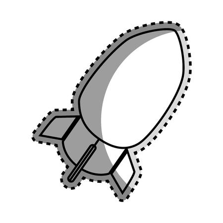 atomic bomb: monochrome contour sticker with rocket icon vector illustration Illustration