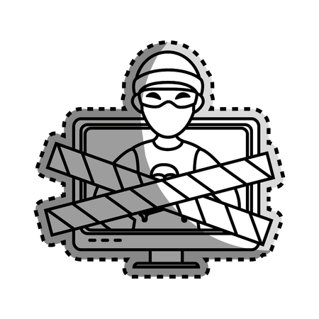 malware: monochrome contour sticker with lcd monitor with hacker and warning tape vector illustration