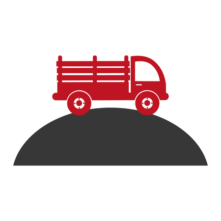 monochrome silhouette with stakes truck over the mountain vector illustration Illustration