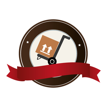 color circular emblem with ribbon and hand truck with box vector illustration