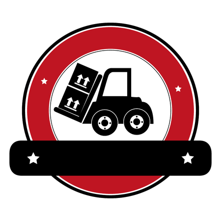 fork lifts trucks: color circular emblem with banner and forklift truck with forks and boxes vector illustration